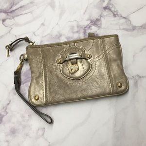 Juicy Couture gold wristlet/wallet/clutch